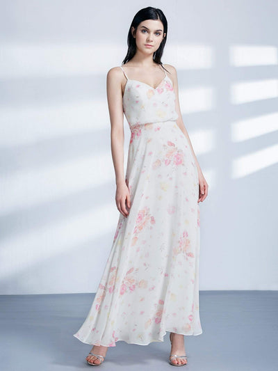 Long Floral Print Blouson Bodice Dress