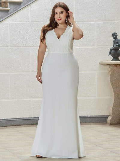 V Neck Floor Length Fishtail Plus Size Wedding Dresses with Lace