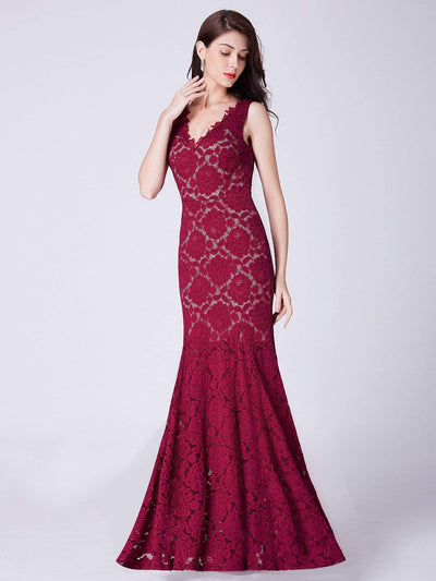 Floor Length Lace Mermaid Evening Gown