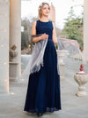 Sleeveless High Collar Long A Line Evening Dress-Navy Blue 2