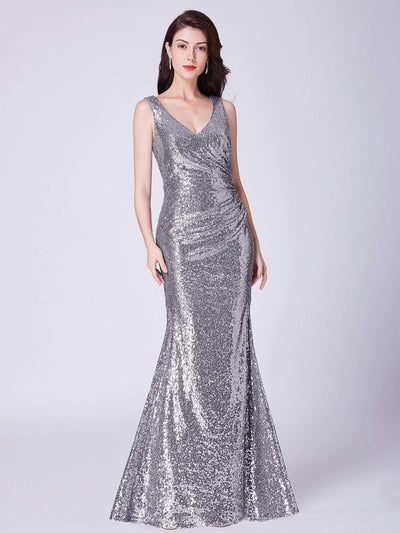 Elegant V Neck Sequin Evening Dress