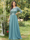 See-Through Floor Length Lace Dress With Half Sleeve-Dusty Blue 1