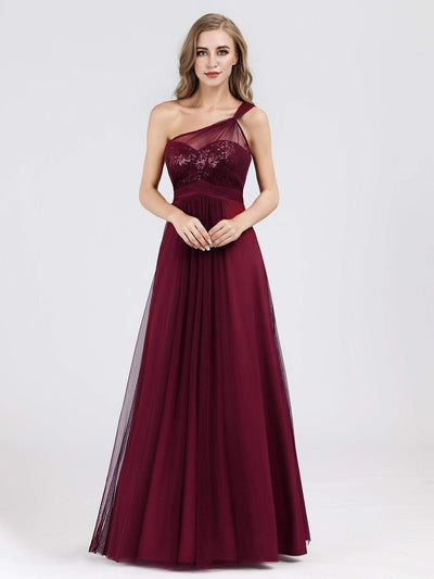One Shoulder Sequin Evening Party Dress