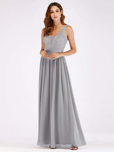 Long Grey Evening Dress with Lace Bodice