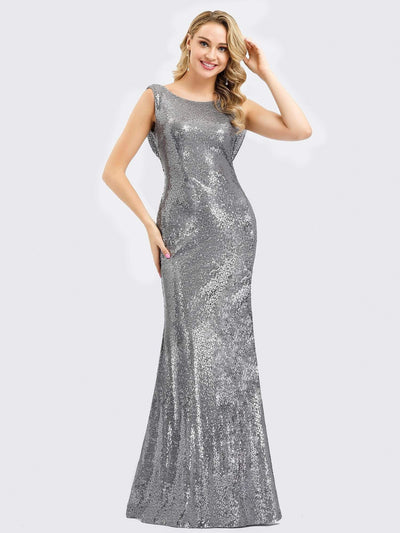 Fitted Silver Sequin Evening Dress with Open Back