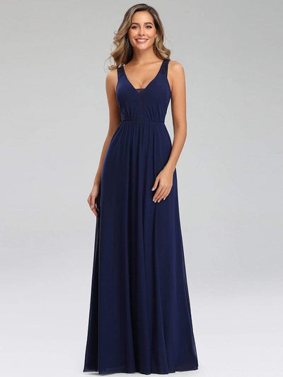 Lace & Chiffon Long Formal Maxi Dress