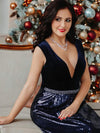 Floor Length Velvet And Sequin Evening Dress-Navy Blue 7