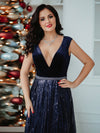 Floor Length Velvet And Sequin Evening Dress-Navy Blue 10