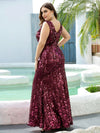 Plus Size Maxi Long V Neck Mermaid Sequin Prom Dresses for Women-Burgundy 2