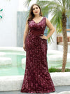Plus Size Maxi Long V Neck Mermaid Sequin Prom Dresses for Women-Burgundy 3