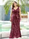 Plus Size Maxi Long V Neck Mermaid Sequin Prom Dresses for Women-Burgundy 4