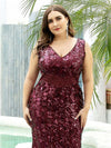 Plus Size Maxi Long V Neck Mermaid Sequin Prom Dresses for Women-Burgundy 5