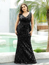 Plus Size Maxi Long V Neck Mermaid Sequin Prom Dresses for Women-Black 4