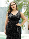 Plus Size Maxi Long V Neck Mermaid Sequin Prom Dresses for Women-Black 5