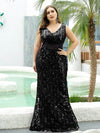 Plus Size Maxi Long V Neck Mermaid Sequin Prom Dresses for Women-Black 1