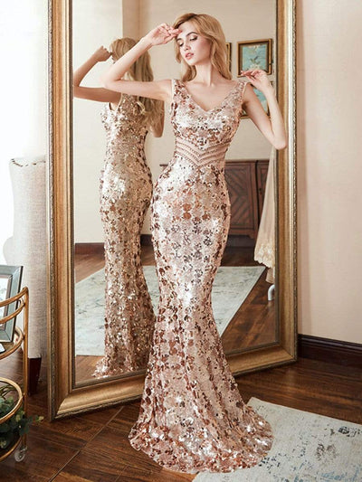 Maxi Long V Neck Mermaid Sequin Prom Dresses for Women