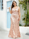Plus Size Maxi Long V Neck Mermaid Sequin Prom Dresses for Women-Rose Gold 4