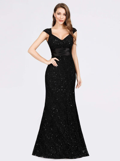 Women's V-Neck Glitter Sequin Dress Bodycon Maxi Evening Dress