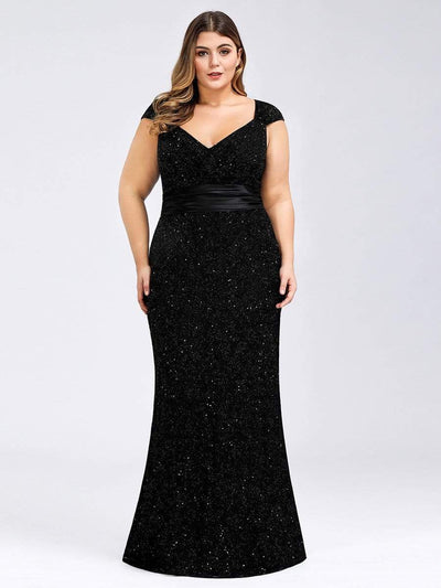 Plus Size Women's V-Neck Glitter Sequin Dress Bodycon Maxi Evening Dress