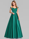 Women'S A-Line V-Neck Off Shoulder Evening Dress-Dark Green 4
