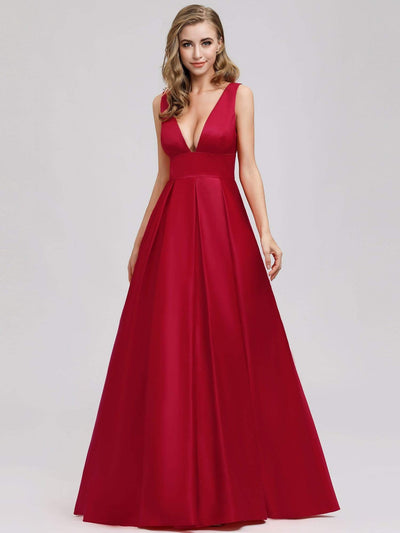 Women's V-Neck Backless Flared Evening Party Maxi Dress