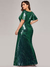Women'S V-Neck Short Sleeve Glitter Dress Bodycon Mermaid Dress-Dark Green 2