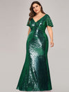 Women'S V-Neck Short Sleeve Glitter Dress Bodycon Mermaid Dress-Dark Green 3