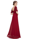 Half Sleeve Empire Waist Evening Dress-Burgundy 2