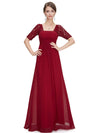 Half Sleeve Empire Waist Evening Dress-Burgundy 3