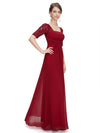 Half Sleeve Empire Waist Evening Dress-Burgundy 4