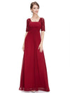 Half Sleeve Empire Waist Evening Dress-Burgundy 1