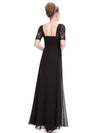 Half Sleeve Empire Waist Evening Dress-Black 2
