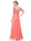 Half Sleeve Empire Waist Evening Dress-Coral 2