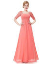 Half Sleeve Empire Waist Evening Dress-Coral 3