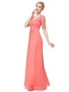 Half Sleeve Empire Waist Evening Dress-Coral 4