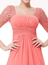 Half Sleeve Empire Waist Evening Dress-Coral 5