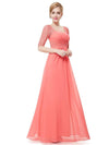 Half Sleeve Empire Waist Evening Dress-Coral 1