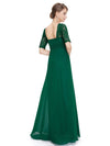 Half Sleeve Empire Waist Evening Dress-Dark Green 2
