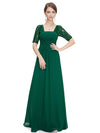 Half Sleeve Empire Waist Evening Dress-Dark Green 3