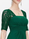 Half Sleeve Empire Waist Evening Dress-Dark Green 4