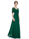 Half Sleeve Empire Waist Evening Dress-Dark Green 1