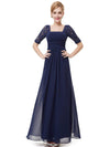 Half Sleeve Empire Waist Evening Dress-Navy Blue 3