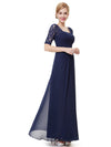 Half Sleeve Empire Waist Evening Dress-Navy Blue 4