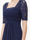 Half Sleeve Empire Waist Evening Dress-Navy Blue 5