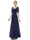 Half Sleeve Empire Waist Evening Dress-Navy Blue 1