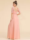 Half Sleeve Empire Waist Evening Dress-Peach 2