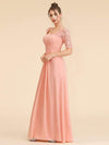 Half Sleeve Empire Waist Evening Dress-Peach 3