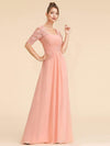 Half Sleeve Empire Waist Evening Dress-Peach 4