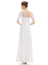 Half Sleeve Empire Waist Evening Dress-White 2