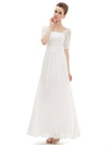 Half Sleeve Empire Waist Evening Dress-White 3